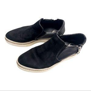Wishbone Black Suede Zip Slip Ons Woman's Size 8